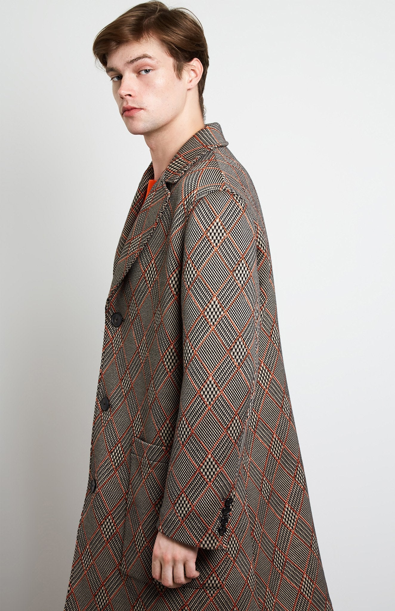 Prince Of Argyle Check Coat In Sand
