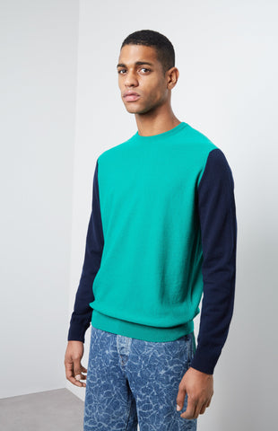 Cashmere Colour Block Jumper In Grass