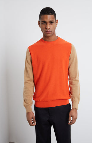 Cashmere Colour Block Jumper In Tangerine