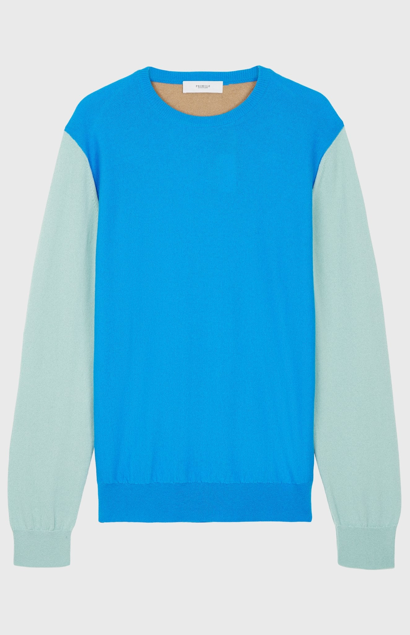 Cashmere Colour Block Jumper In Cobalt Blue