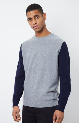 Cashmere Colour Block Jumper In Flannel Grey/Ink