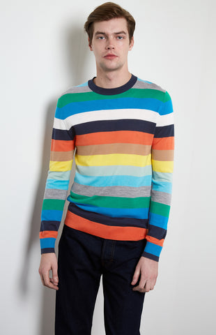Multicolour Striped Merino Wool Jumper In Multi Stripe