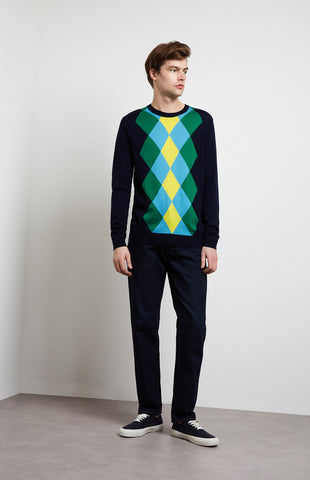 Argyle Intarsia Jumper In Ink/Grass