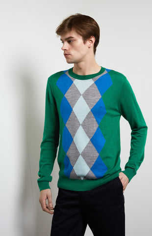 Argyle Intarsia Jumper In Grass