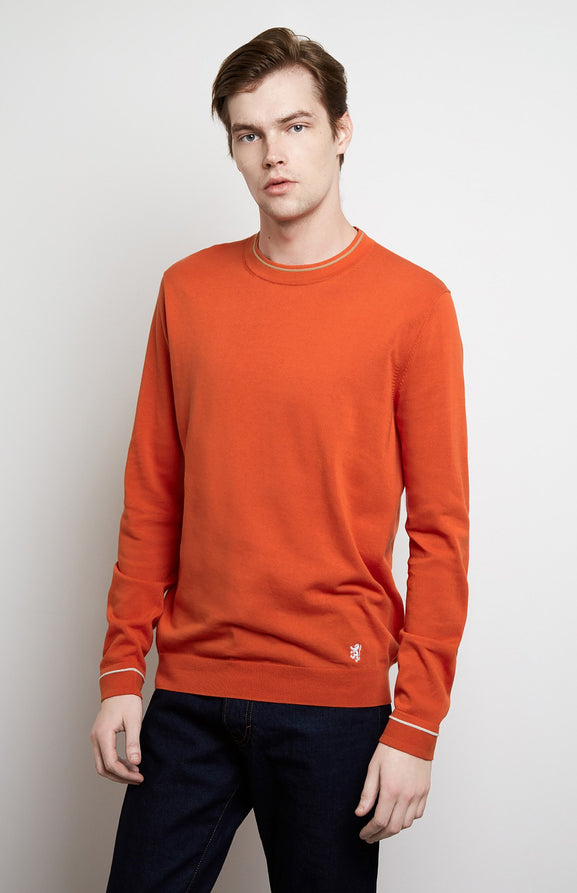 Contrast Tipped Jersey In Tangerine