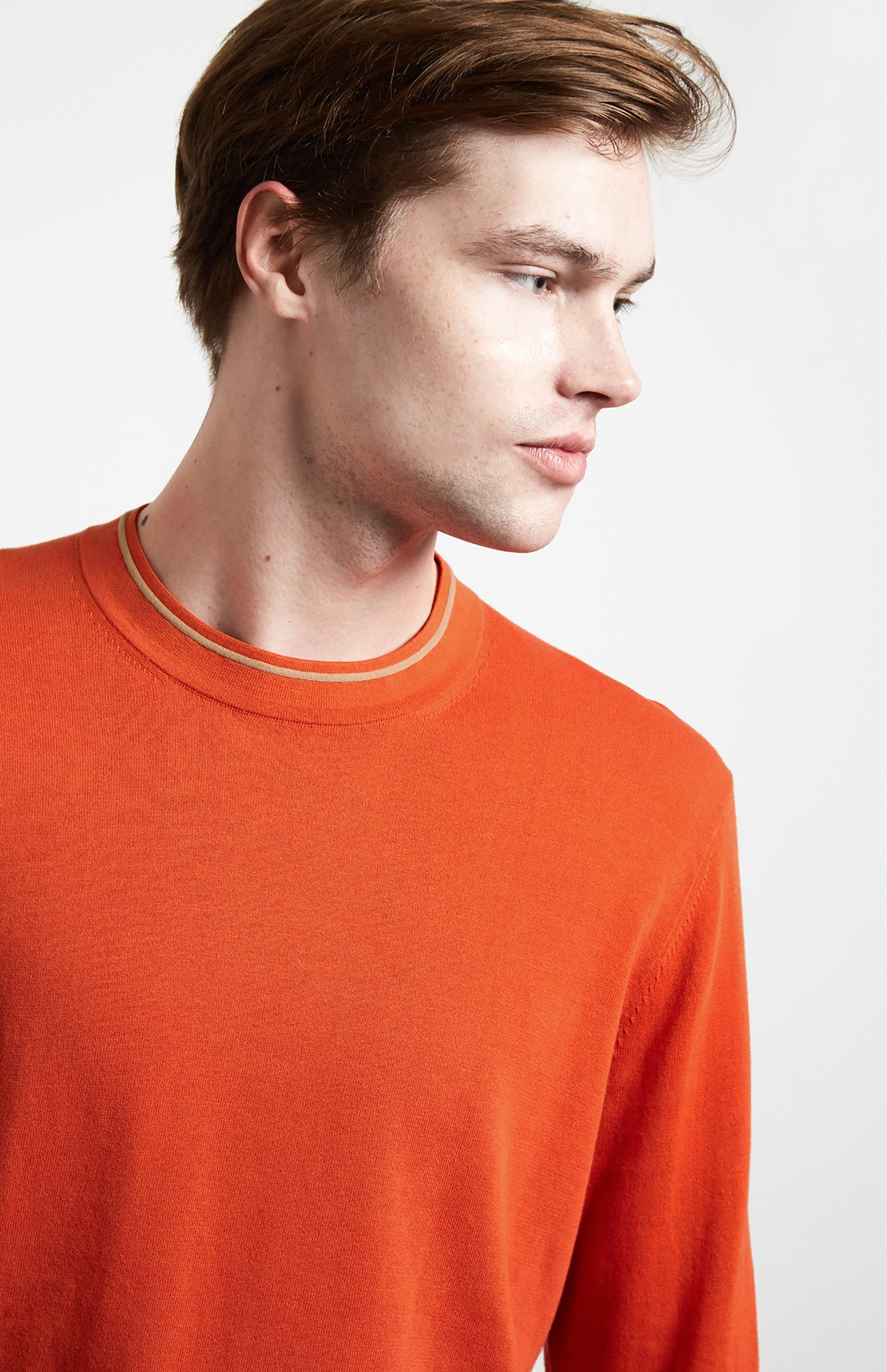 Contrast Tipped Cotton Jumper In Orange
