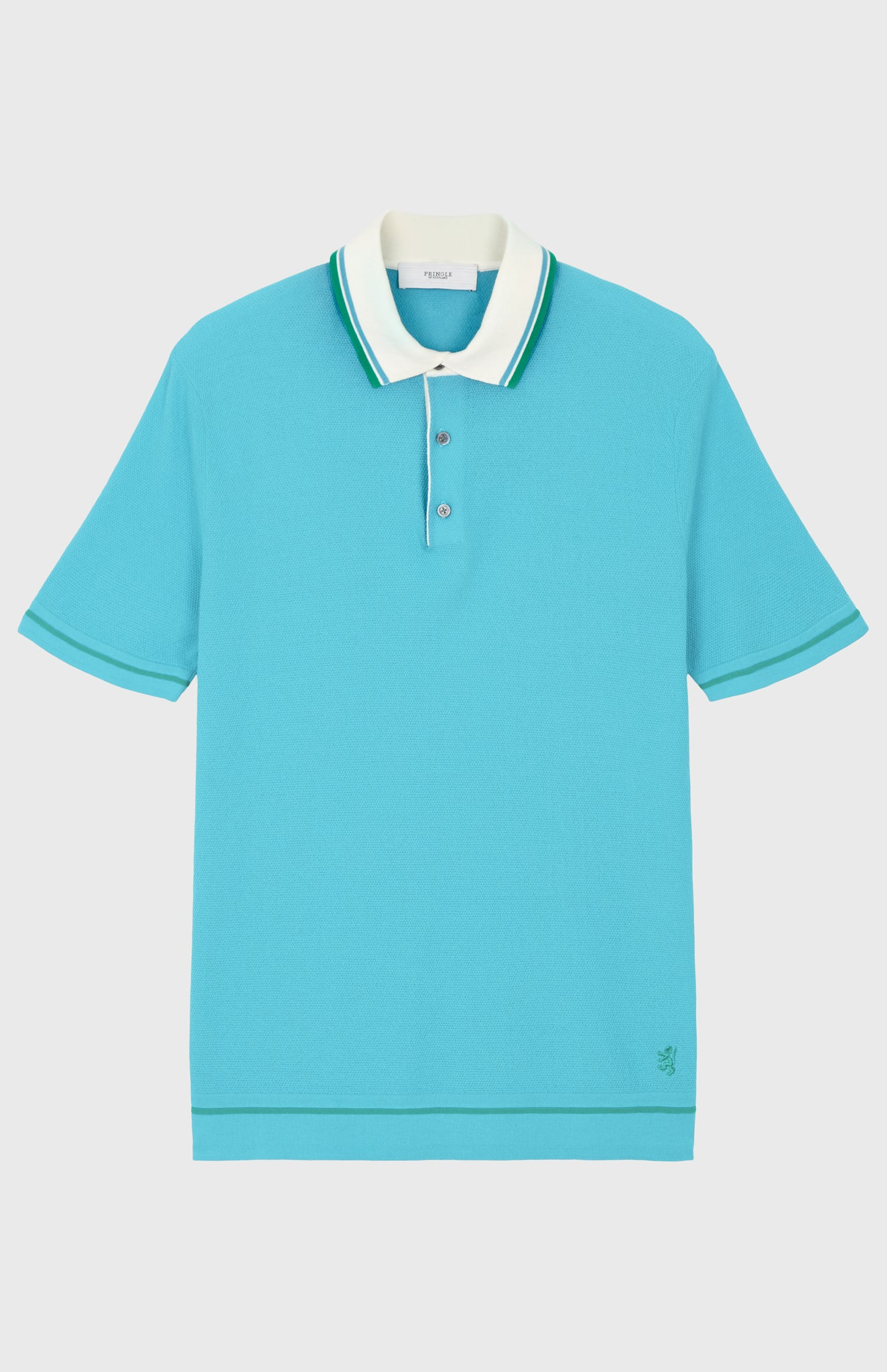 Contrast Tipped Cotton Polo Shirt In Blue/White