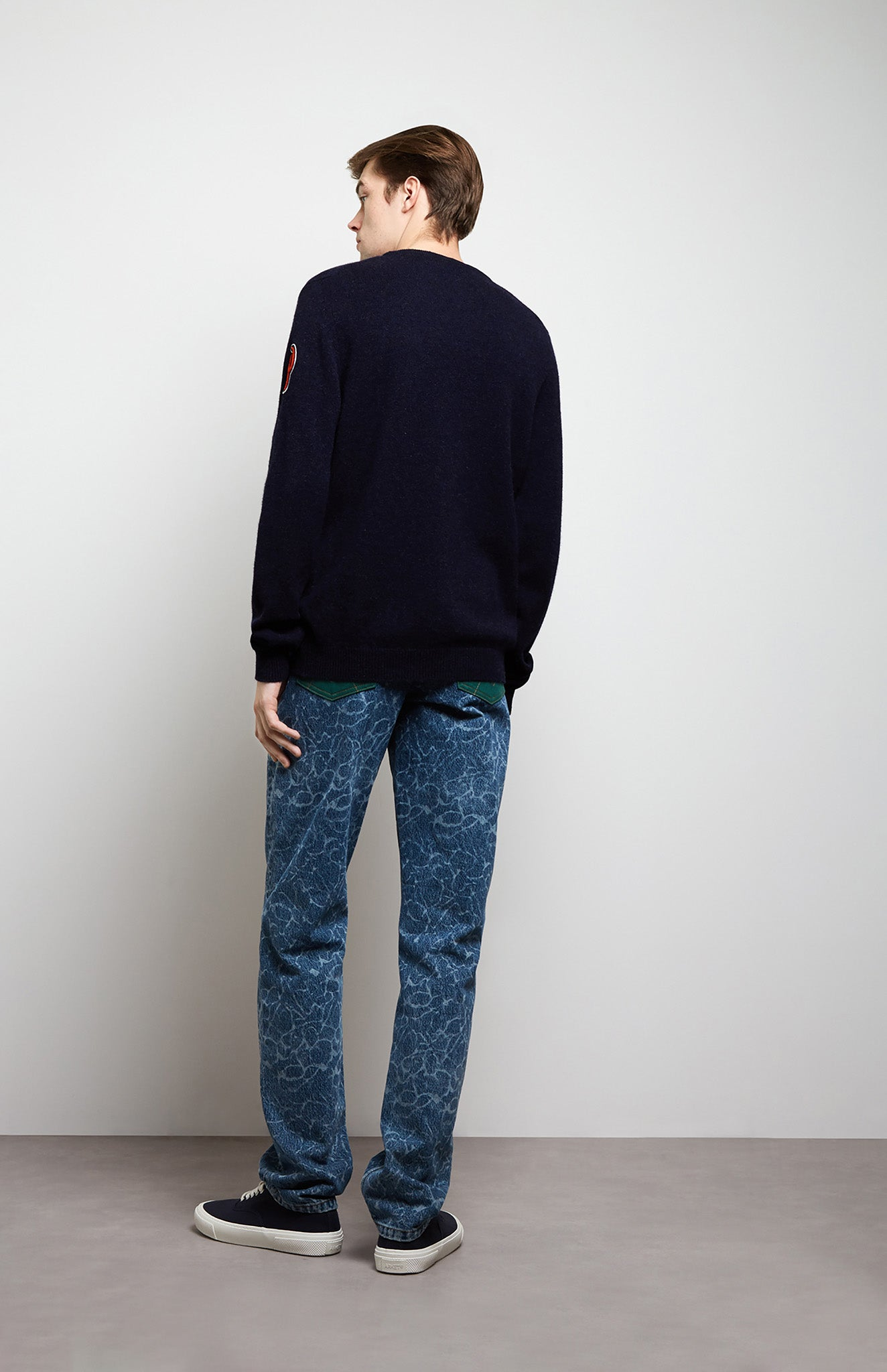 Multi Patch Lambswool Jumper In Navy