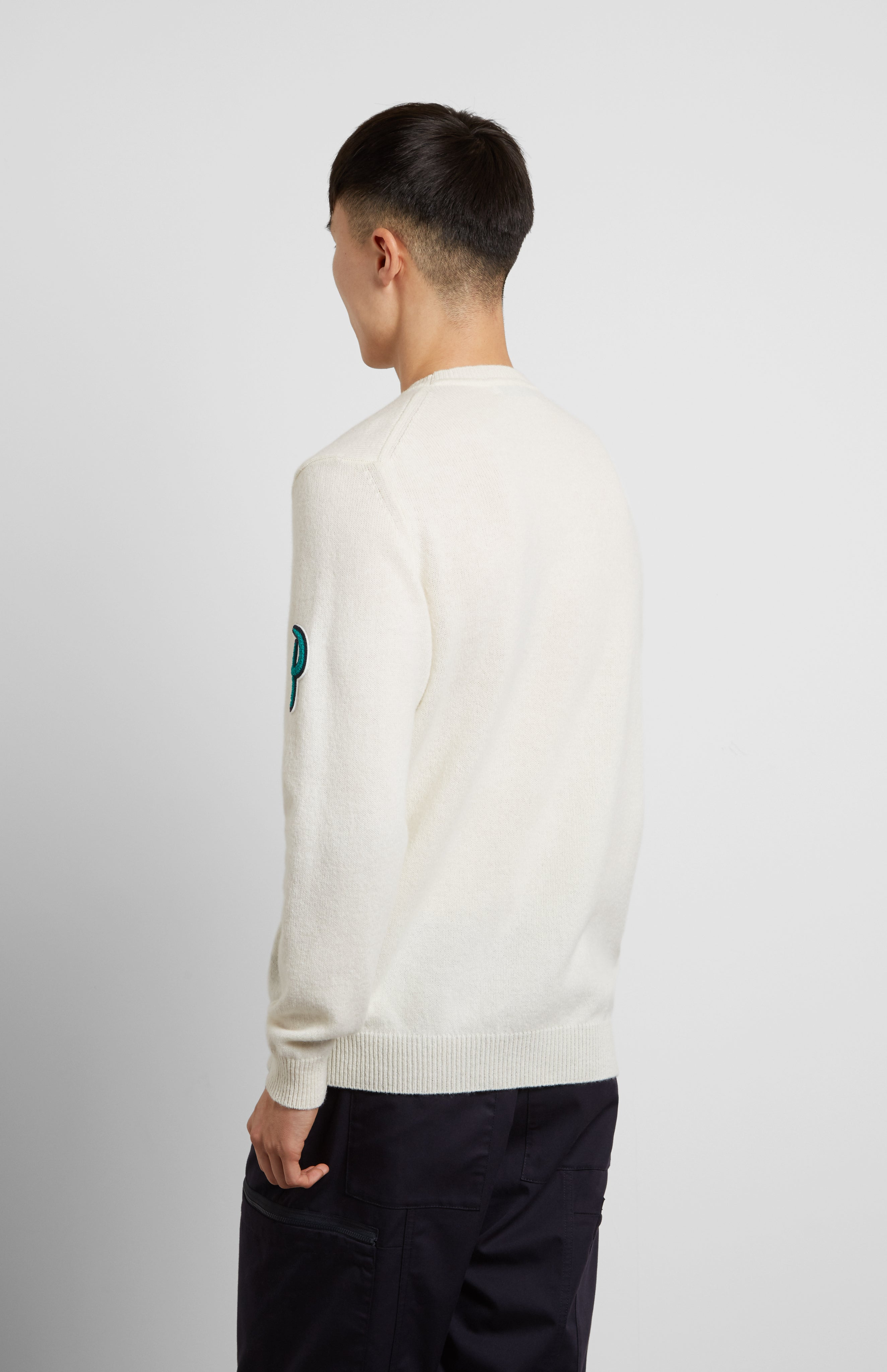Multi Patch Lambswool Jumper In White