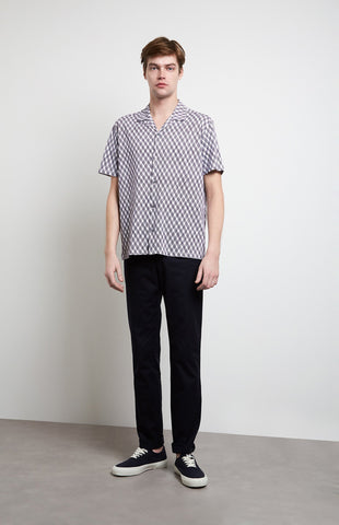 Linear Argyle Shirt In Optic White/Ink