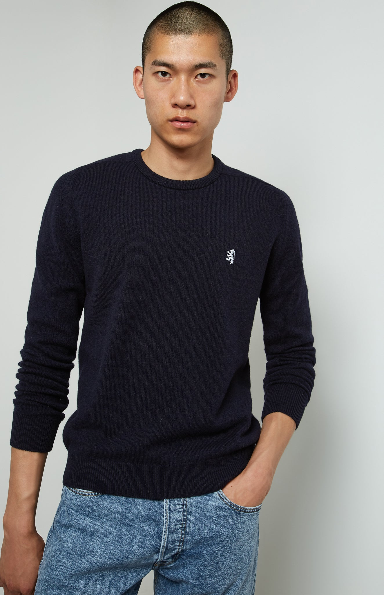 Round Neck Lambswool Jumper In Ink
