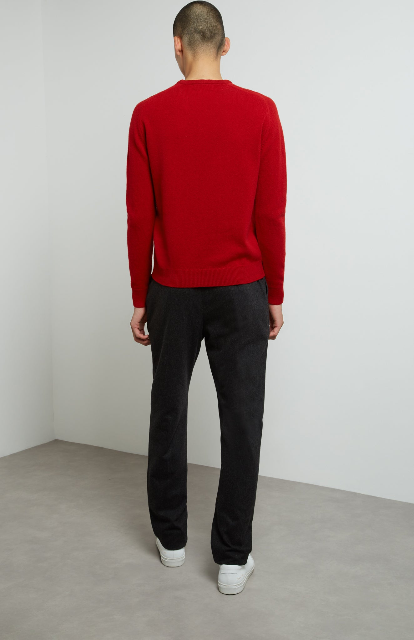 Round Neck Lambswool Jumper In Red