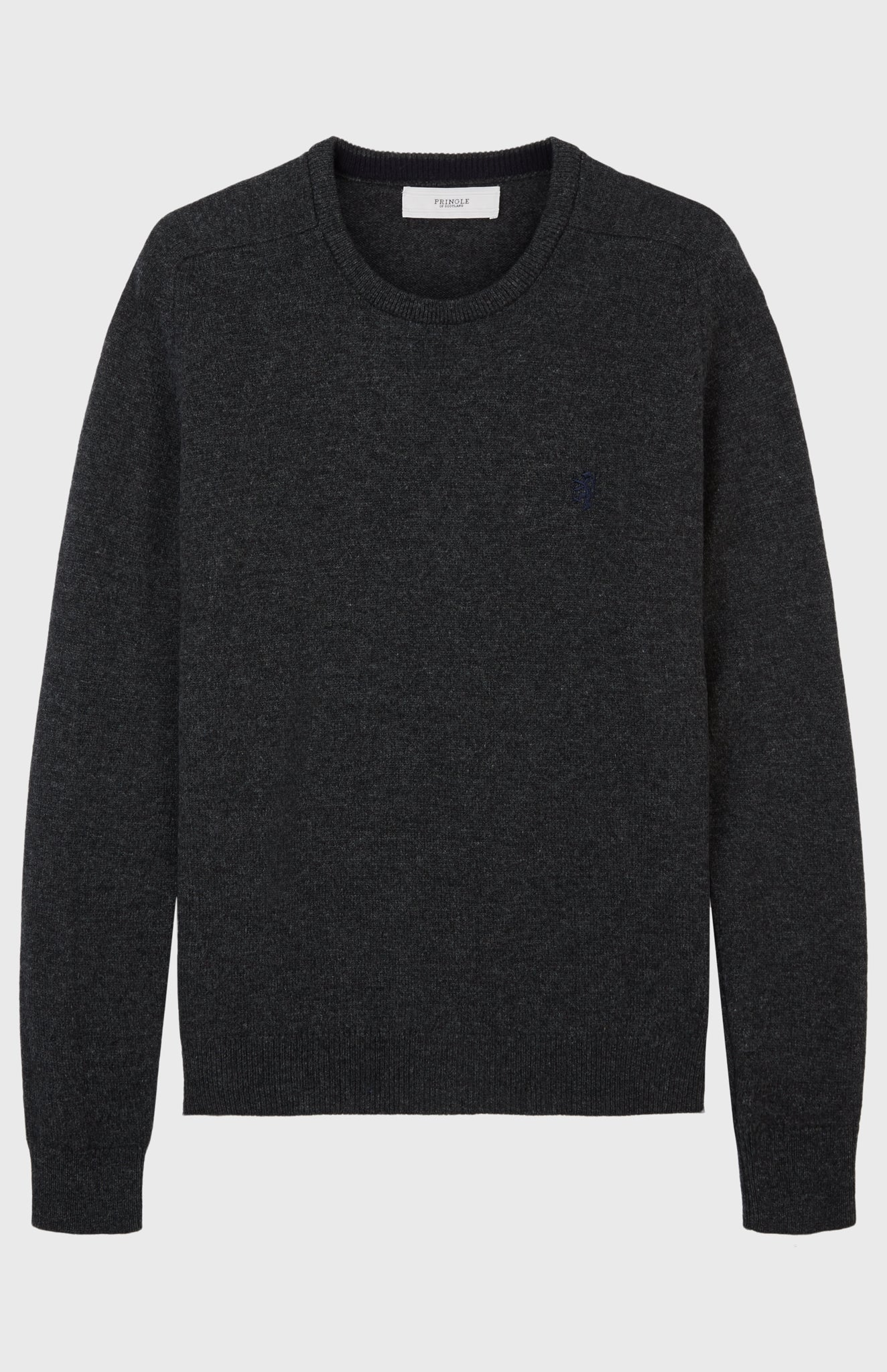 Round Neck Lambswool Jumper In Charcoal