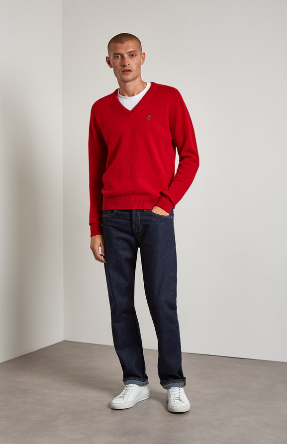 V Neck Lambswool Jumper In Red