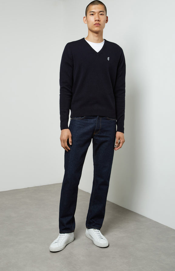 Lambswool Jumper In Navy