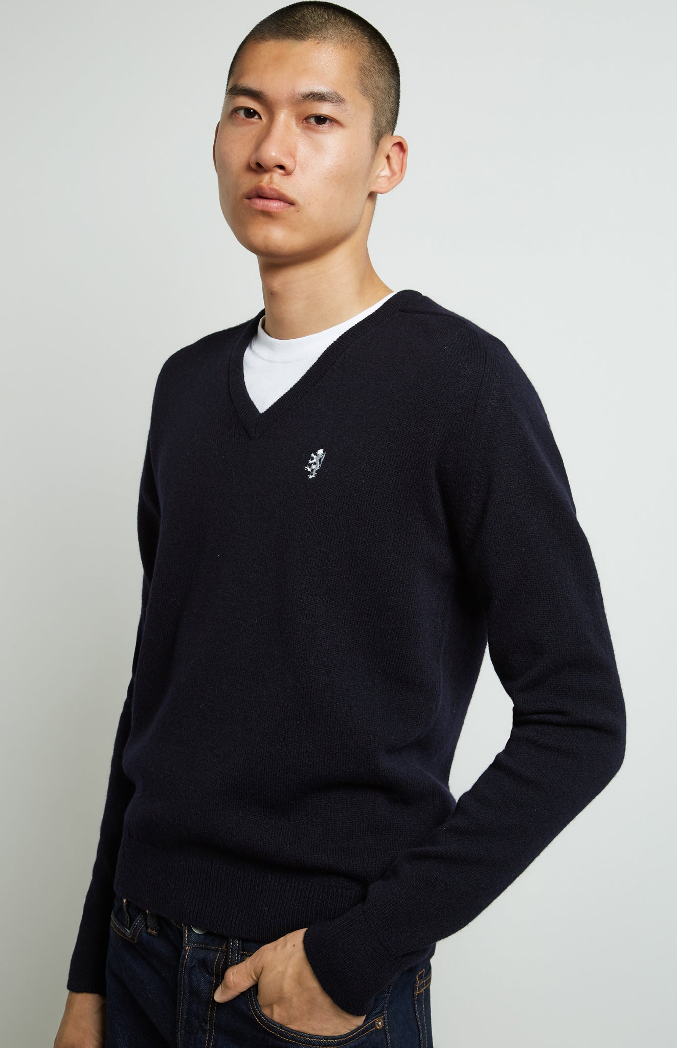 V Neck Lambswool Jumper In Ink