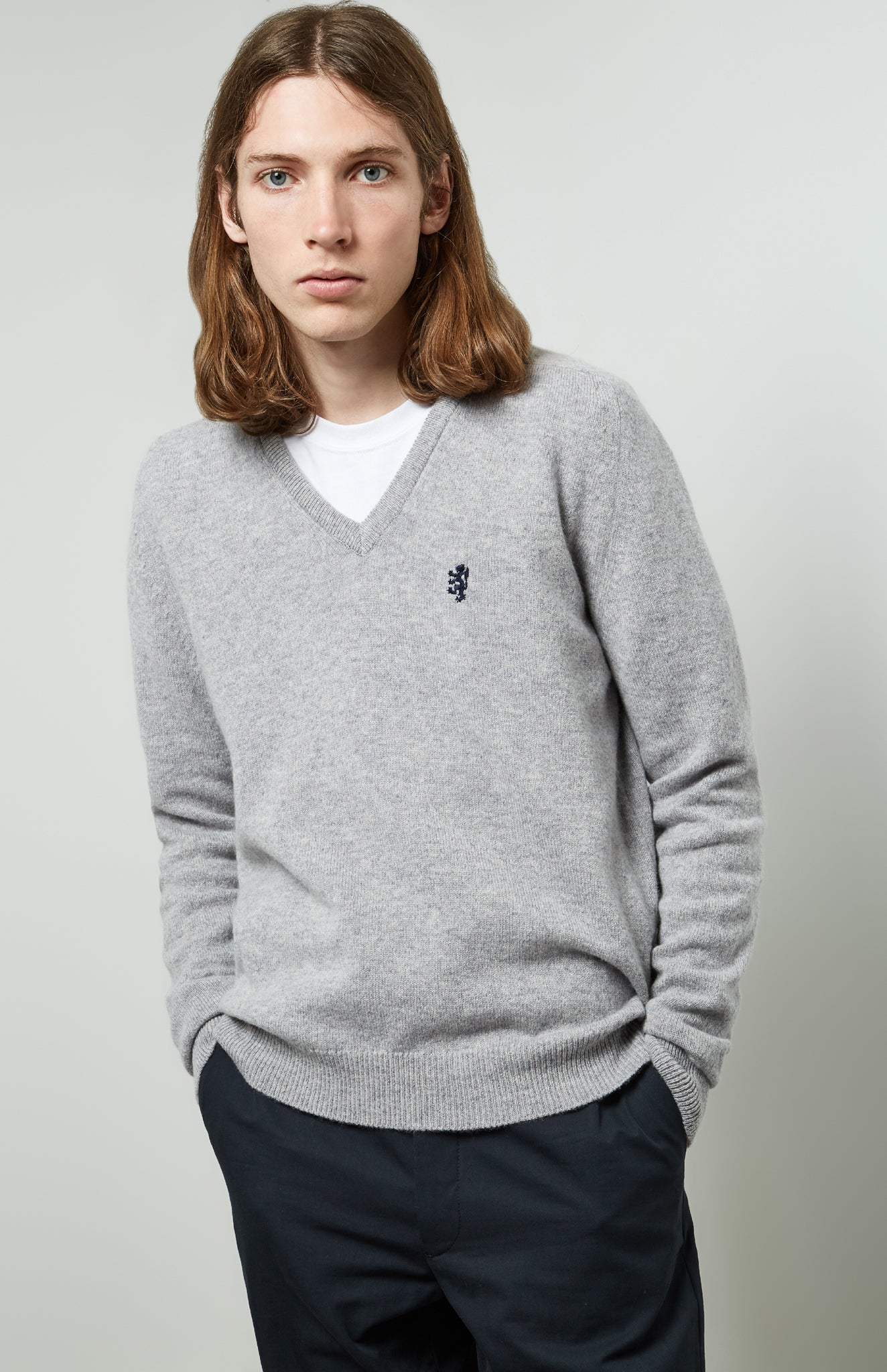 V Neck Lambswool Jumper In Flannel Grey