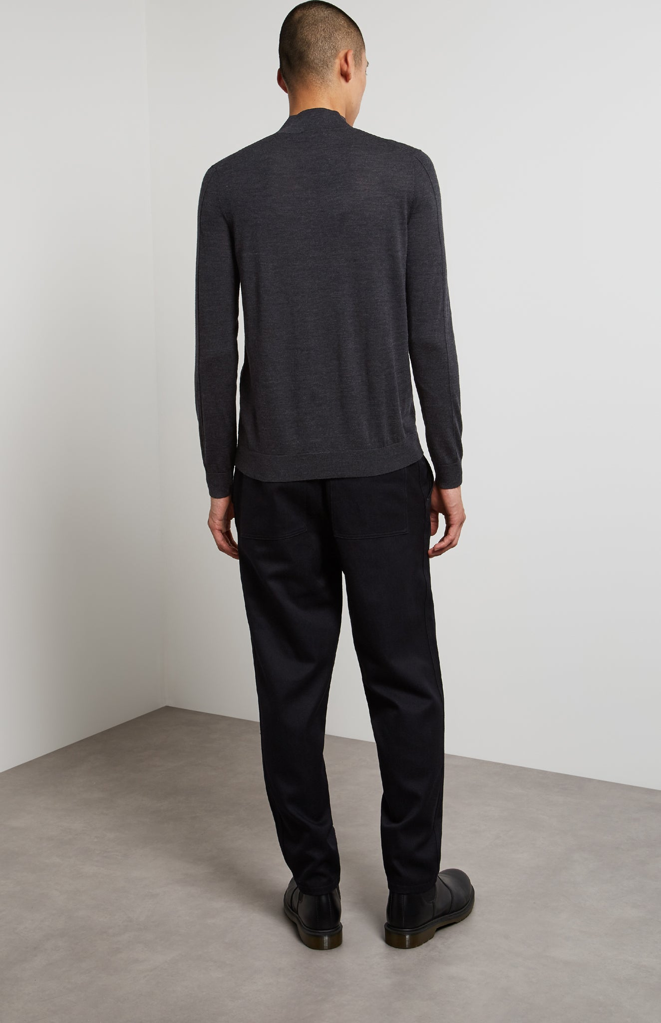 High Neck Merino Jumper In Charcoal