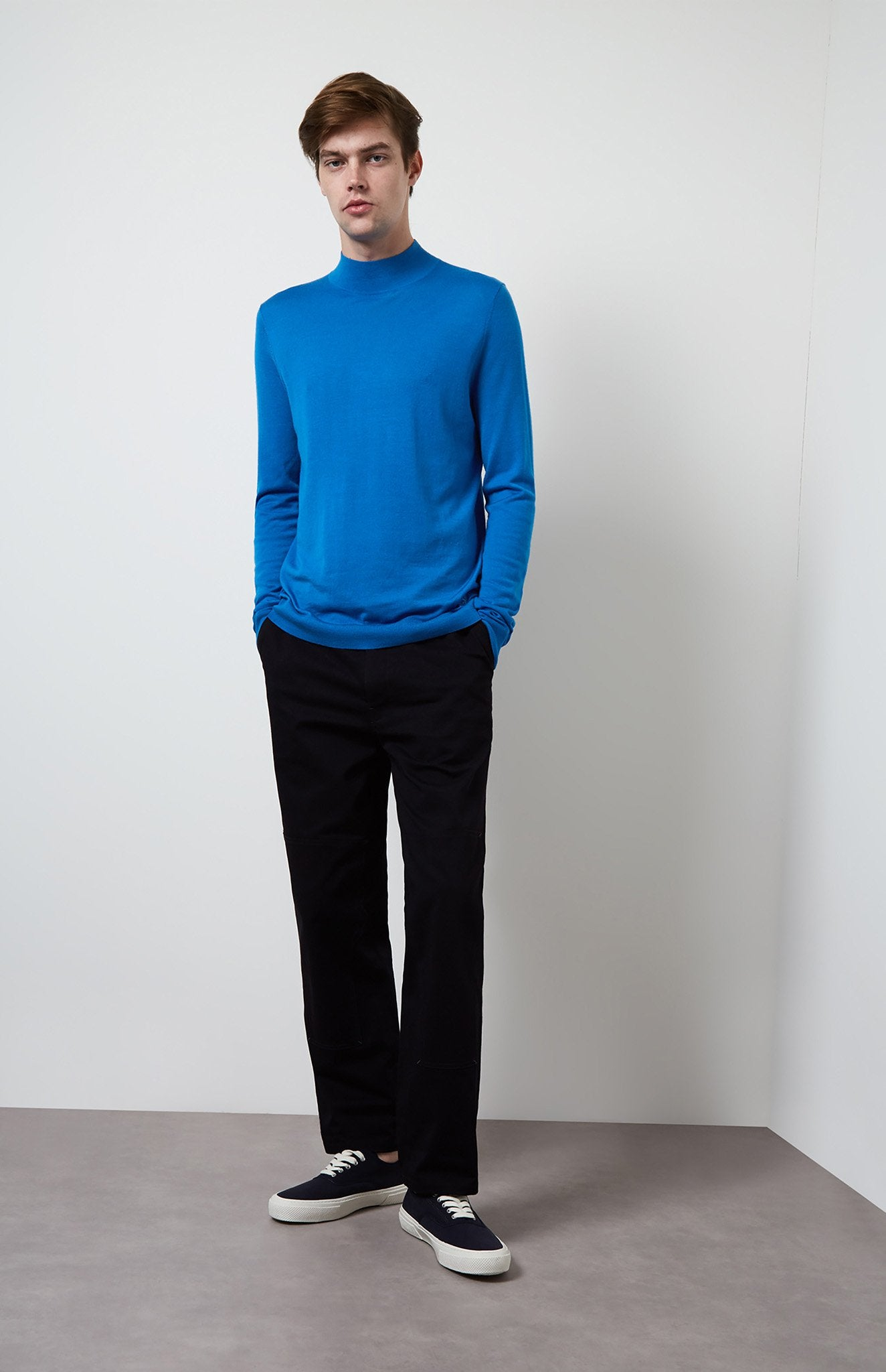 Mock Neck Merino Jumper In Cobalt Blue