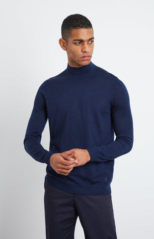 Mock Neck Merino Jumper In Ink