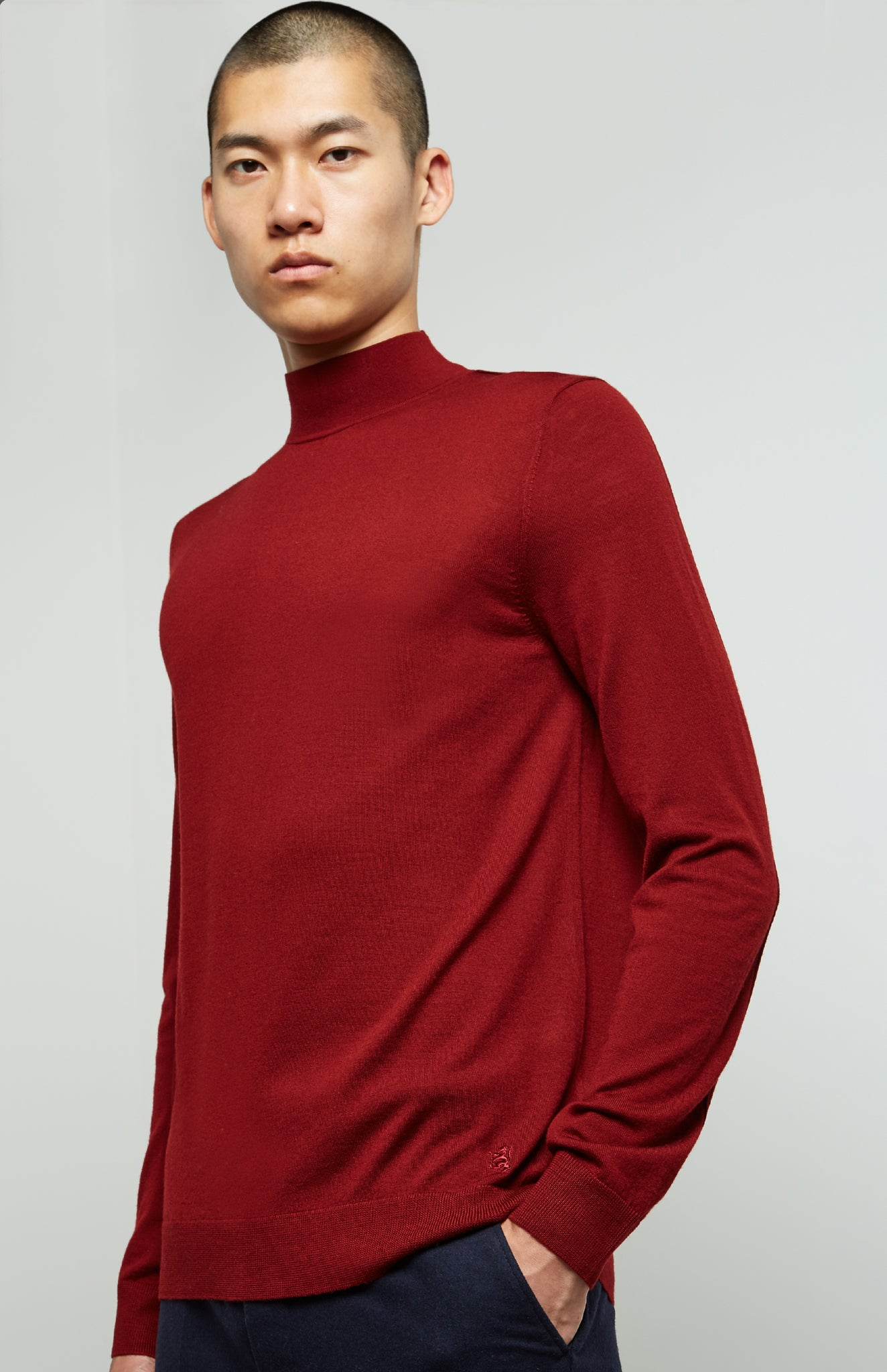 High Neck Merino Jumper In Deep Red