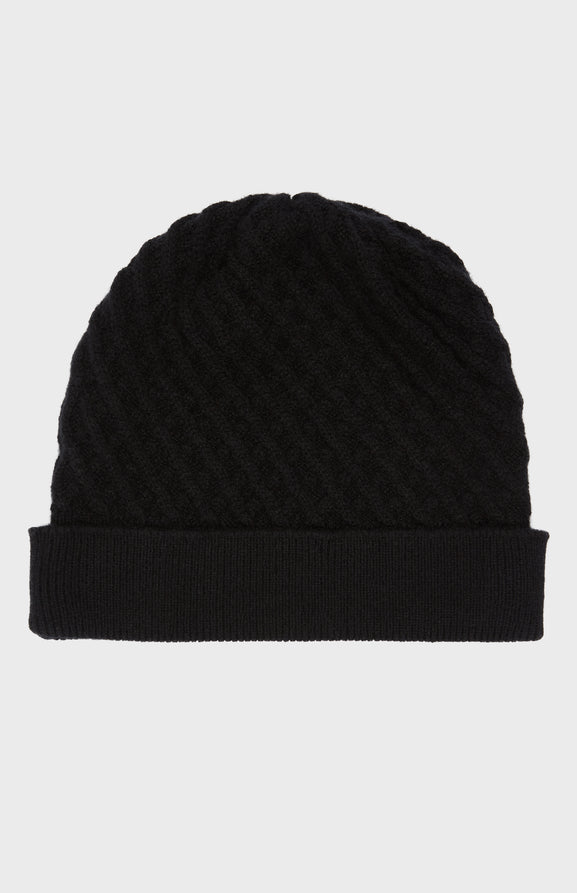 Cashmere Textured Beanie in Black