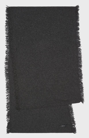 Fringed Cashmere Scarf in Charcoal