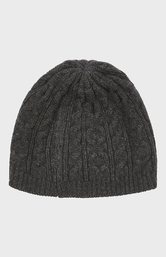 Cable Knit Beanie in Charcoal