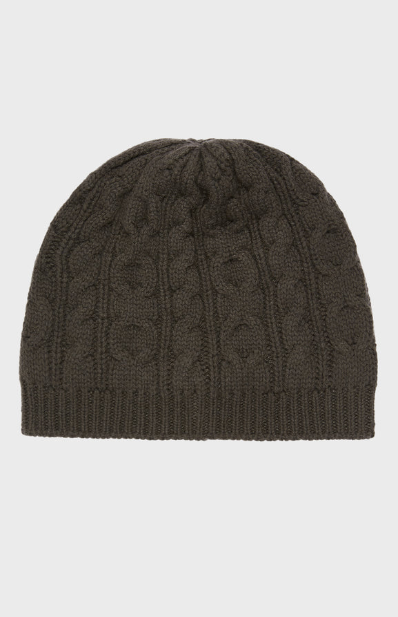 Cable Knit Beanie in Khaki