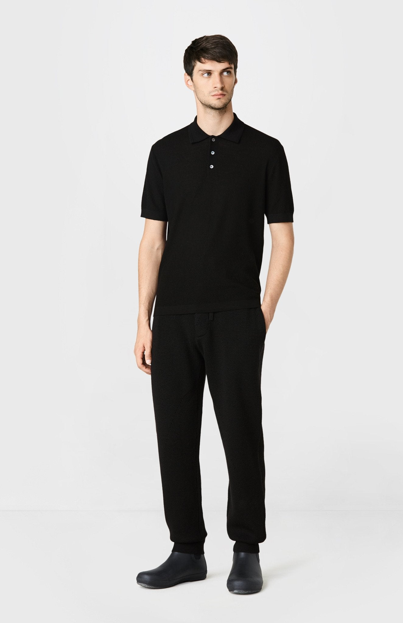 Knitted Textured Stitch Polo Shirt in Black