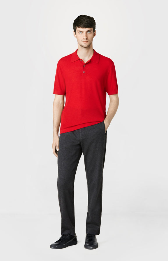 Knitted Textured Stitch Polo Shirt in Red
