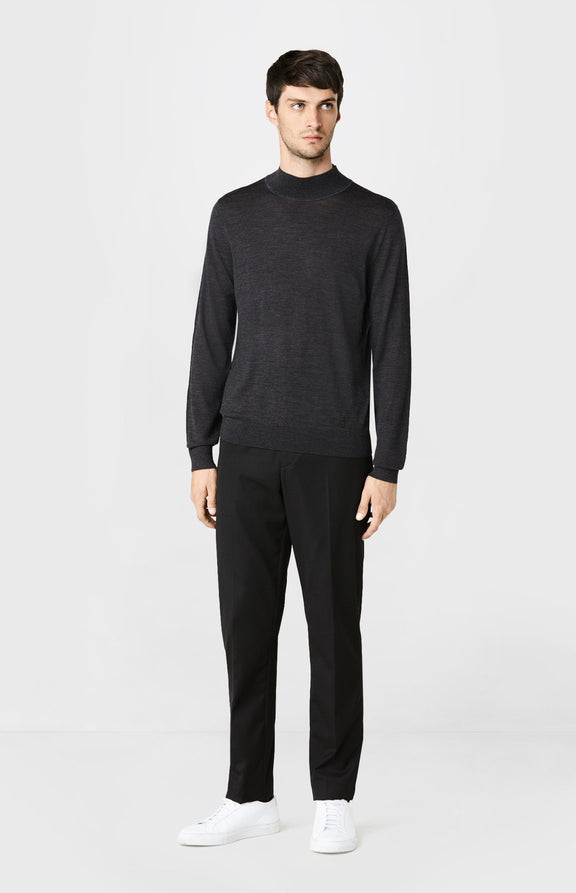 High Neck Merino Wool Jumper in Charcoal