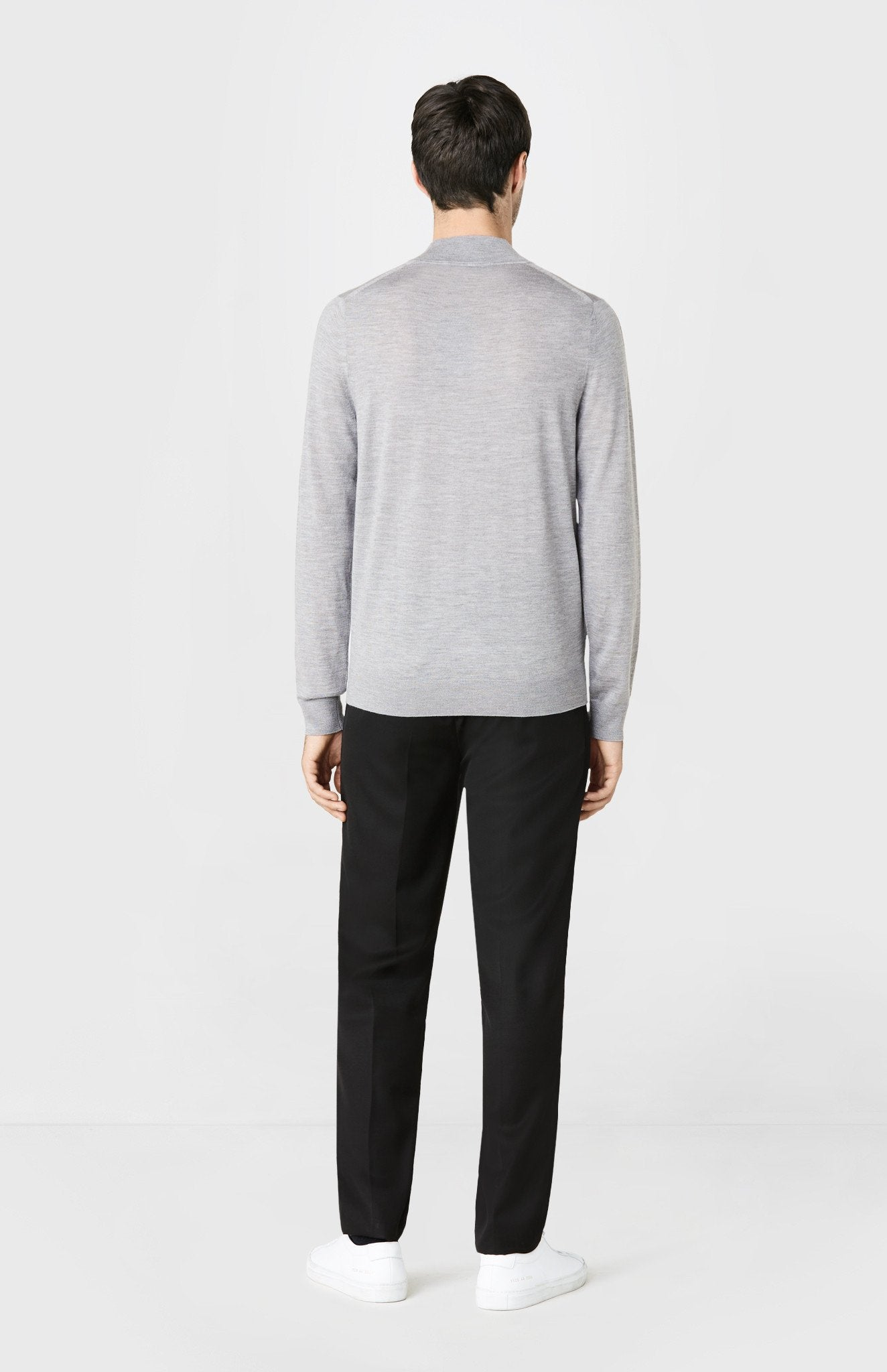 High Neck Merino Wool Jumper in Flannel Melange