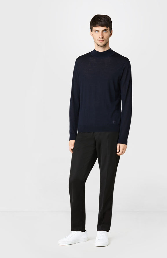 High Neck Merino Wool Jumper in Navy