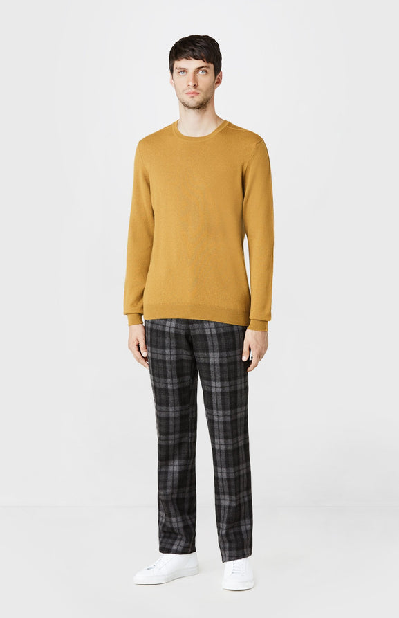 Round Neck Cashmere Jumper in Dark Mustard
