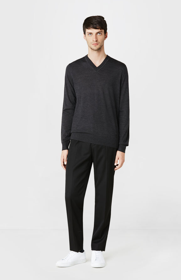 V-neck Merino Wool Jumper in Charcoal