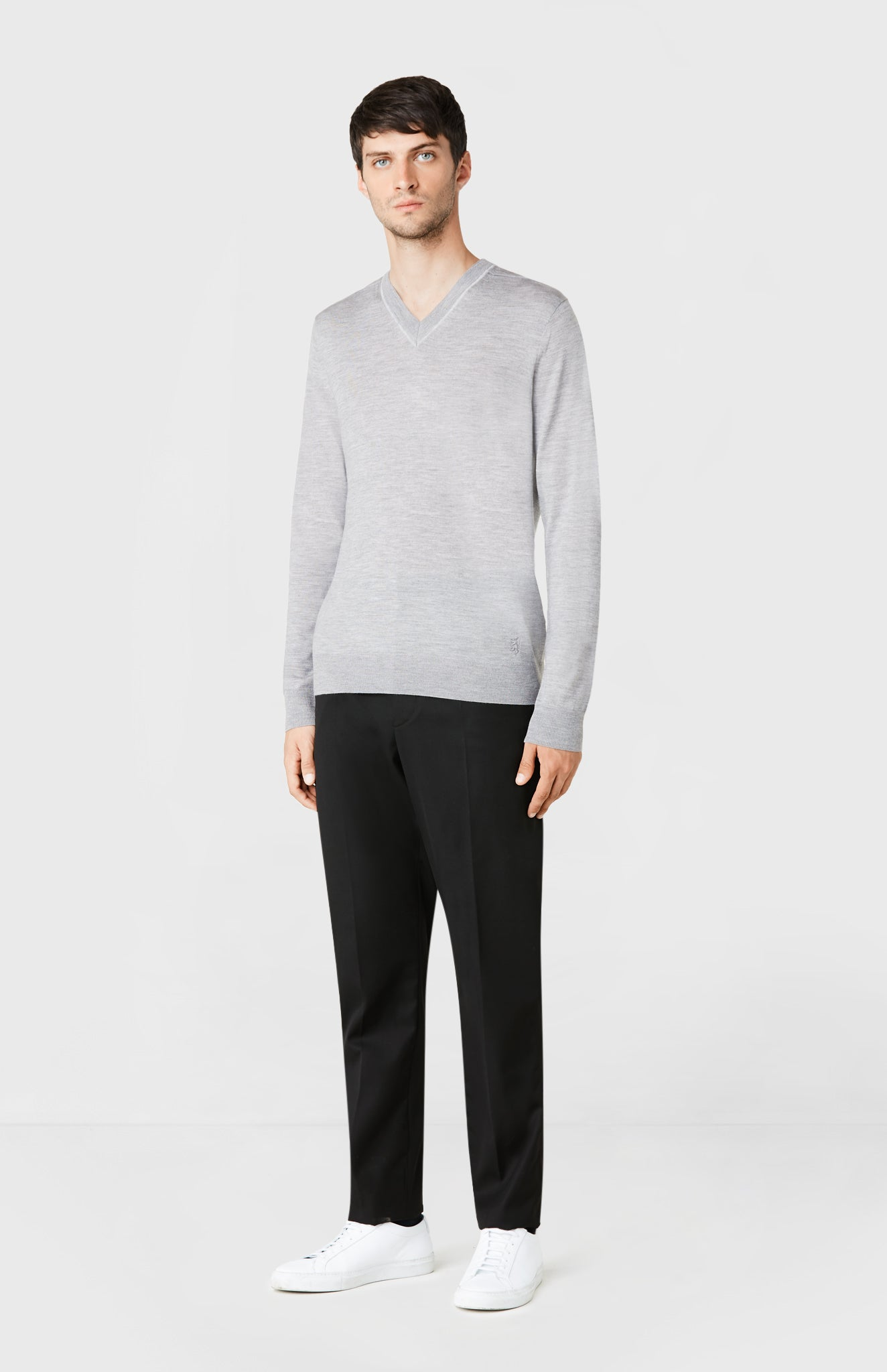 V-neck Merino Wool Jumper in Flannel Melange