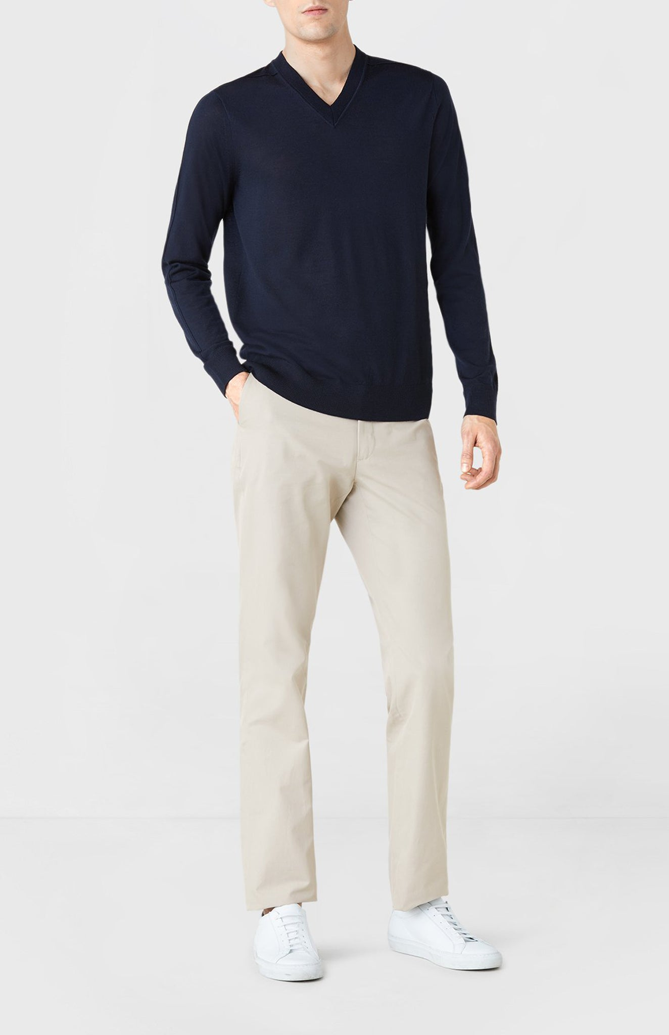 V-neck Merino Wool Jumper in Navy