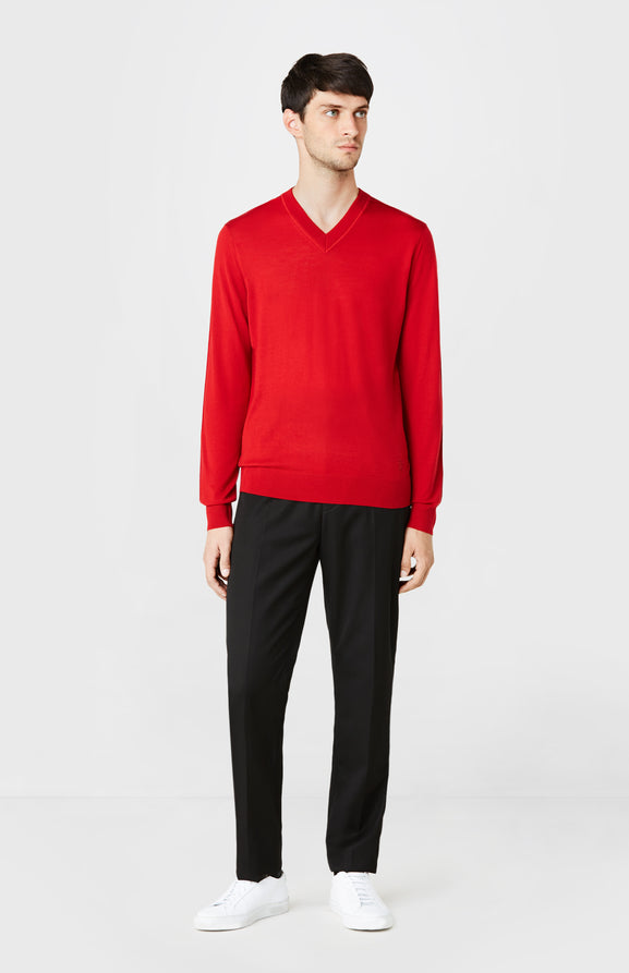 V-neck Merino Wool Jumper in Red