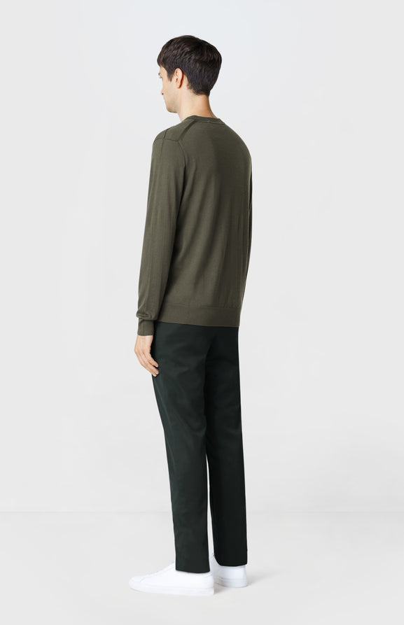 V-neck Merino Wool Jumper in Khaki