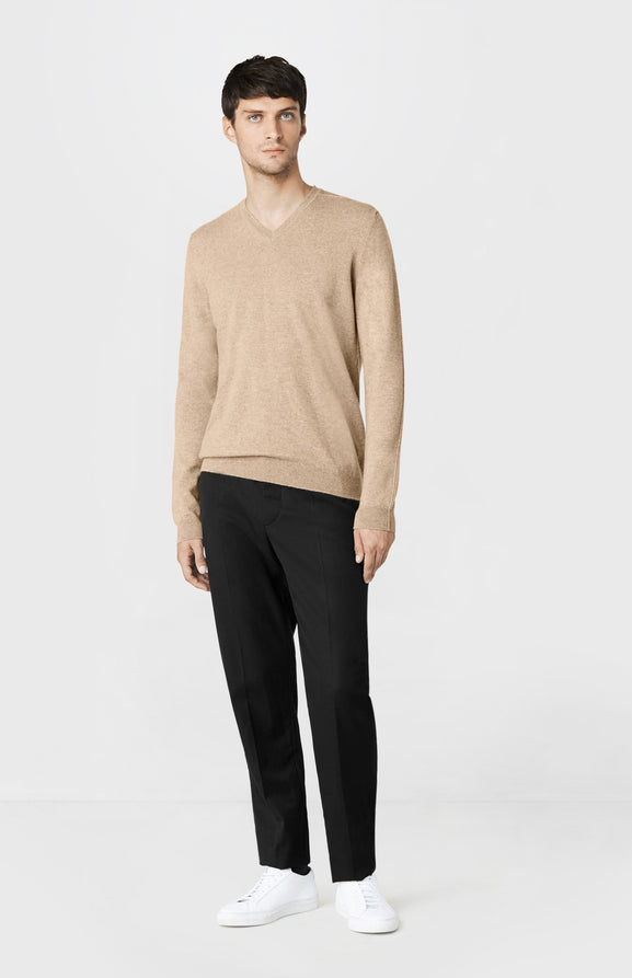 V-neck Cashmere Jumper in Oatmeal