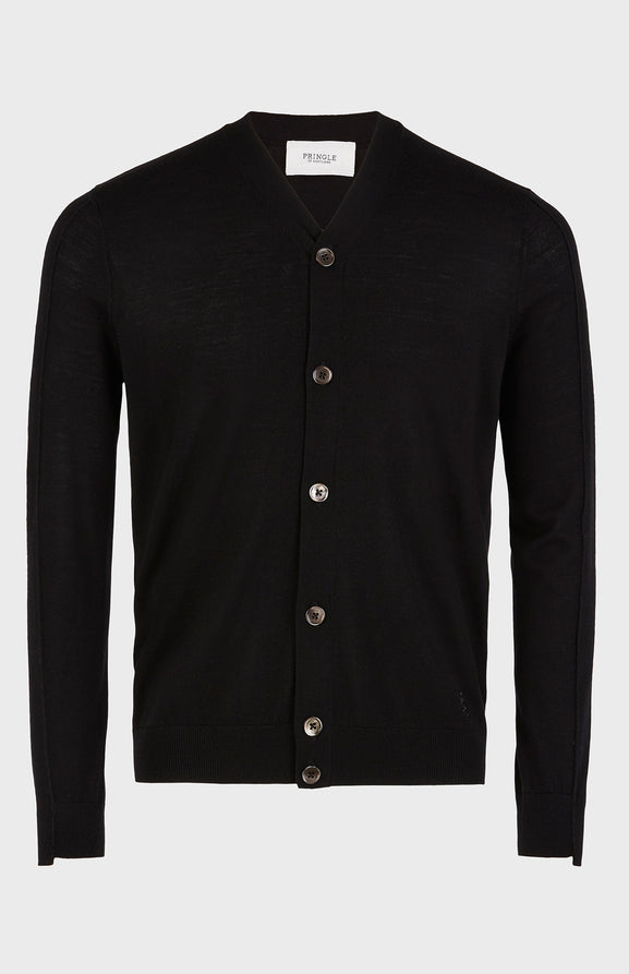 Ribbed Trim V-neck Cardigan In Black