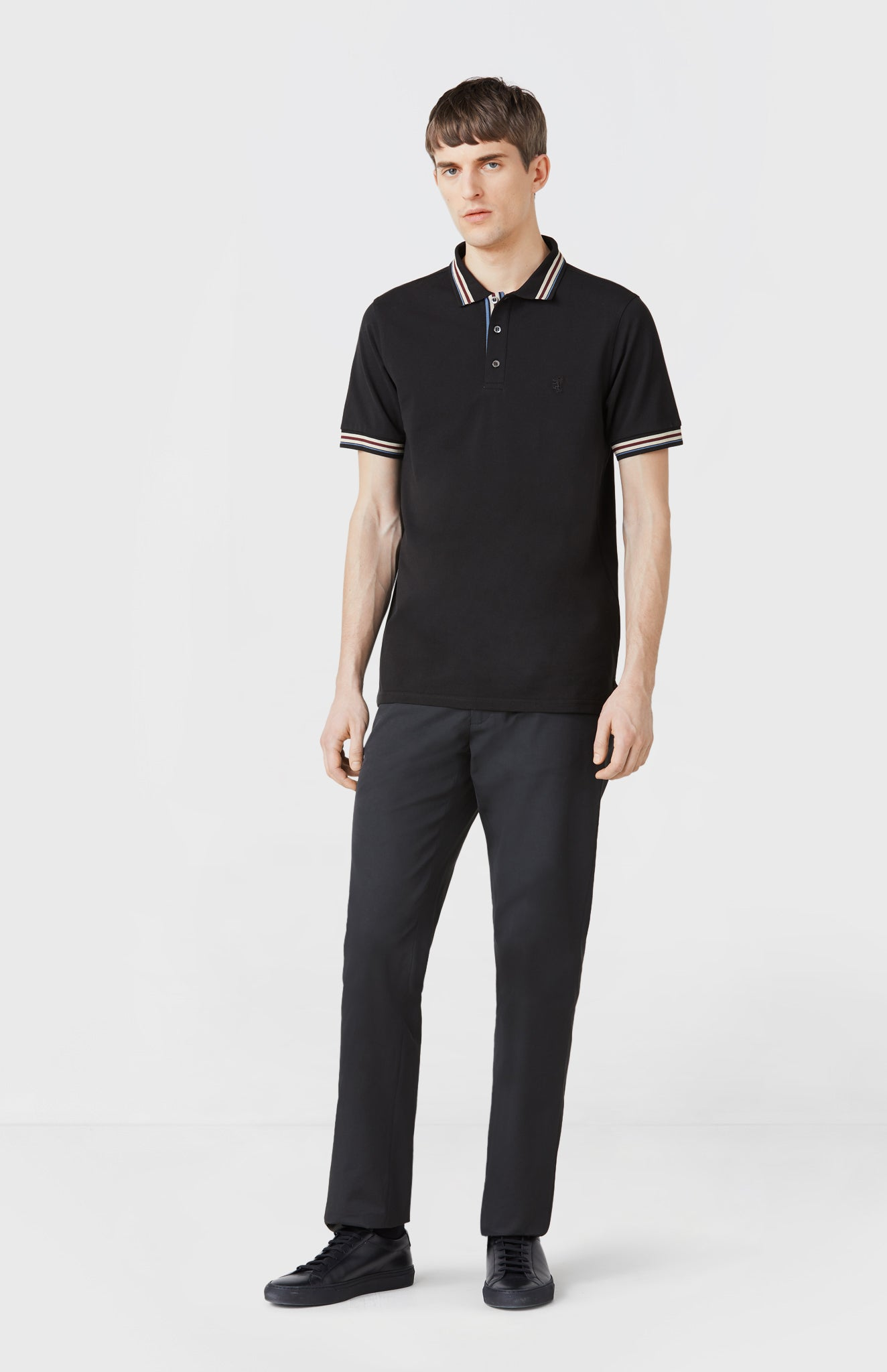 Classic Cotton Polo Shirt in Black