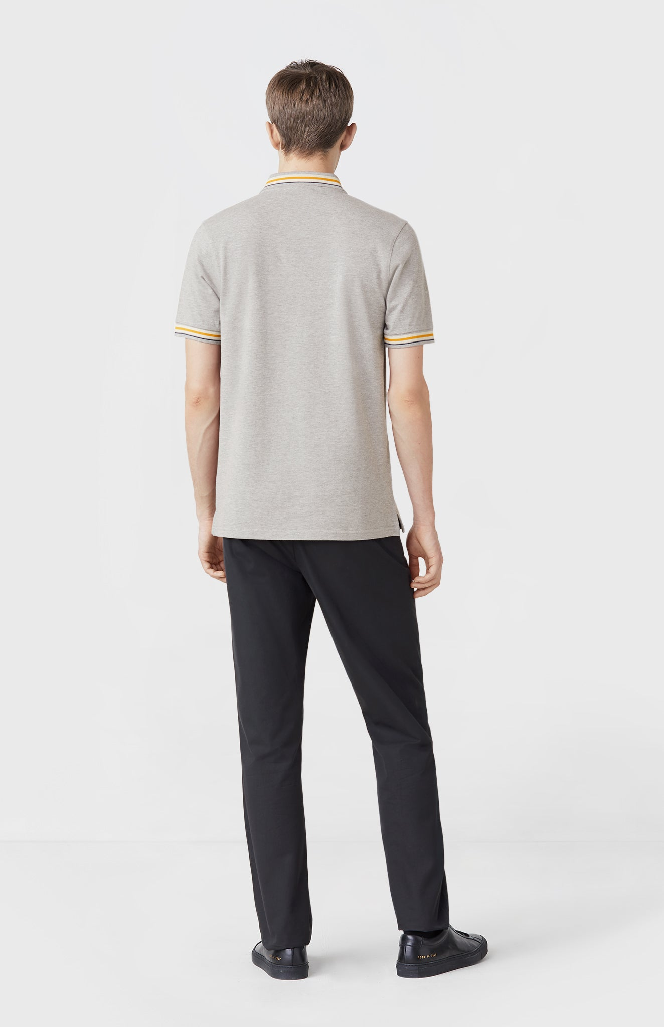 Classic Cotton Polo Shirt in Flannel Grey