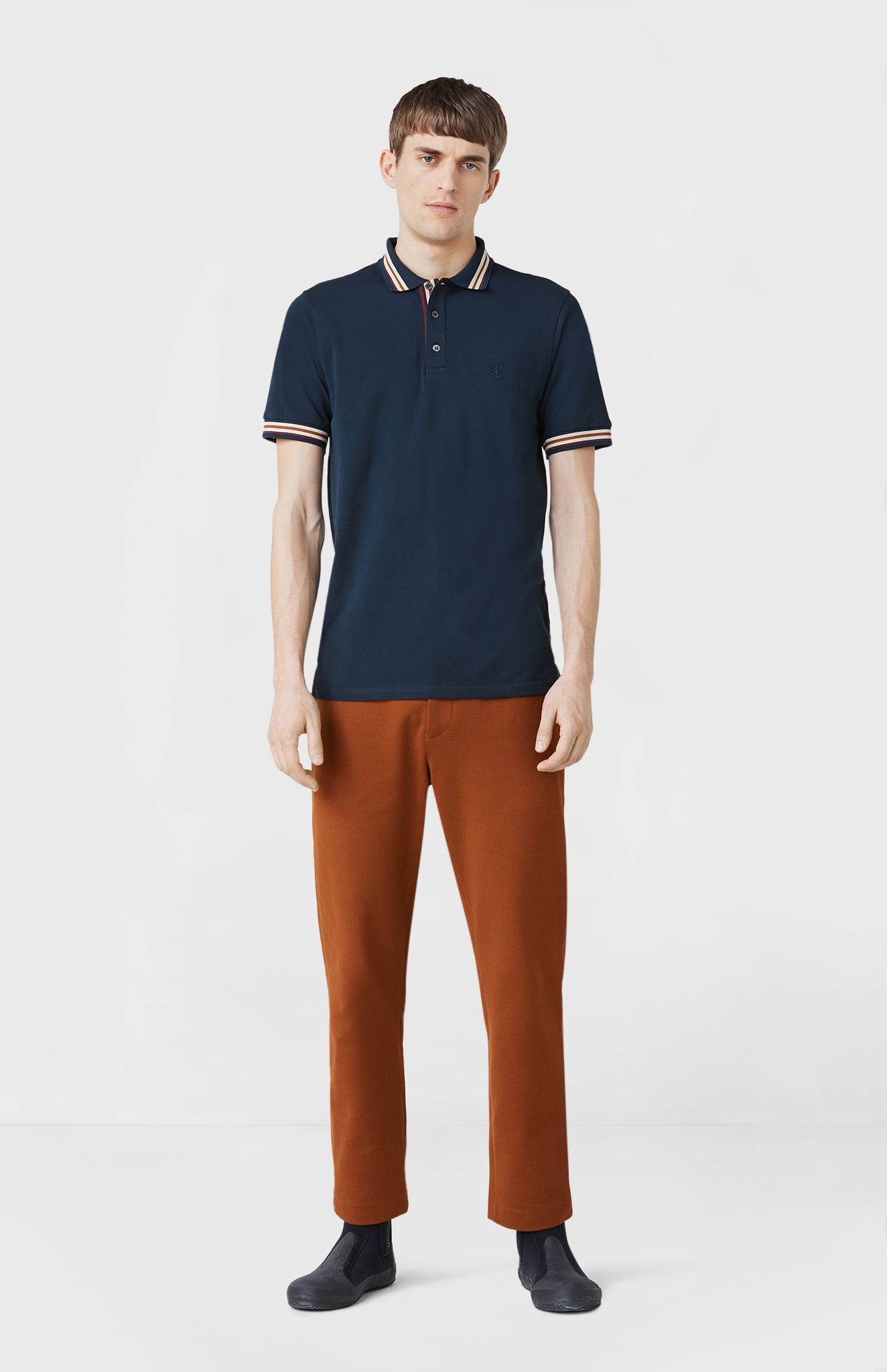 Classic Cotton Polo Shirt In Navy