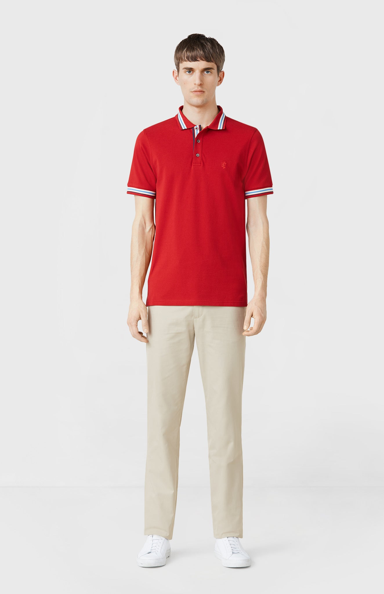 Classic Cotton Polo Shirt in Red