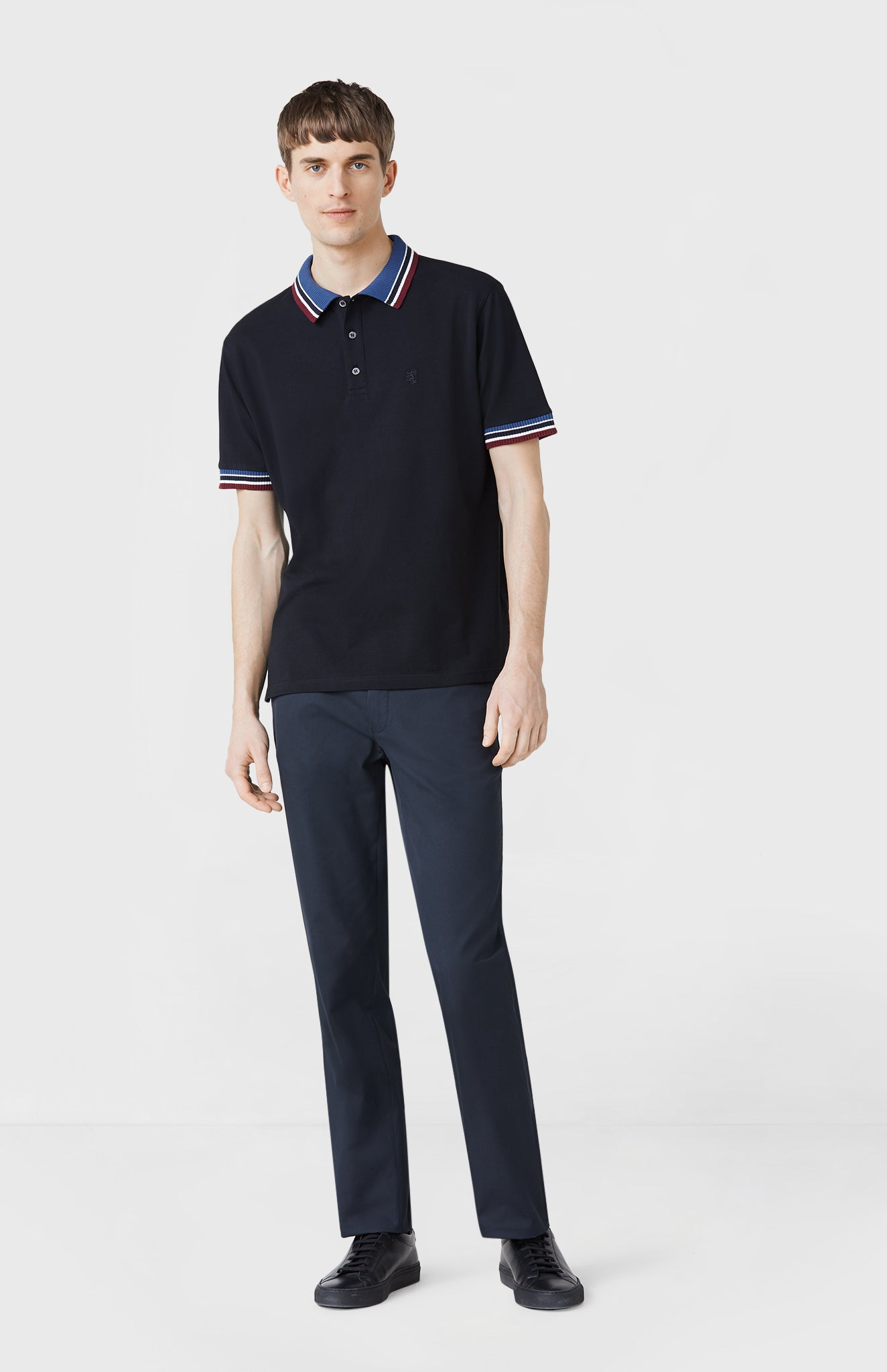 Knitted Trim Polo Shirt in Black