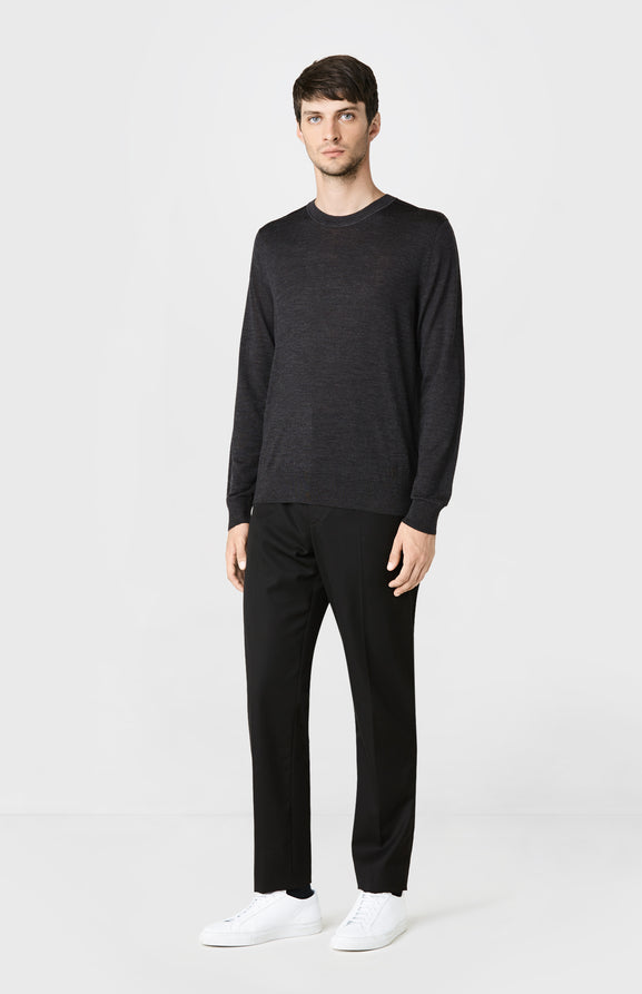 Round Neck Merino Wool Jumper in Charcoal