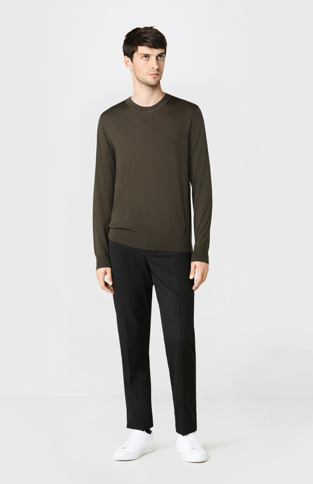 Round Neck Merino Wool Jumper in Khaki