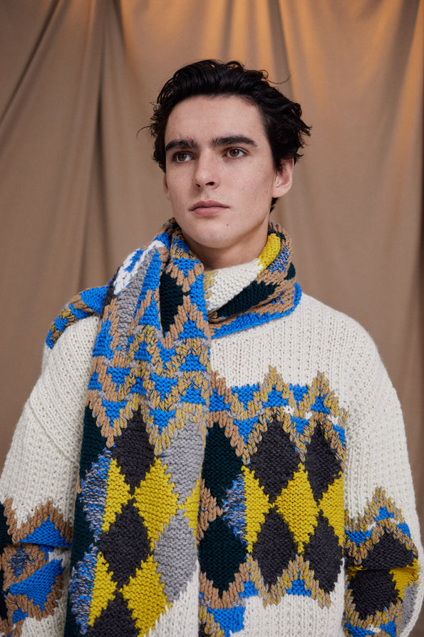 Men's Hand Knitted Motif Jumper